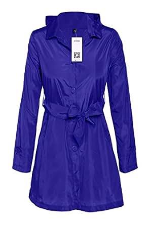 ACEVOG Damen Regenjacke Regenmantel mit Kapuze Winddicht Wasserdicht Atmungsaktiv Wetterschutzjacke mit Gürtel Lang Outdoor Jacket Dunkelblau Herstellergröße: S
