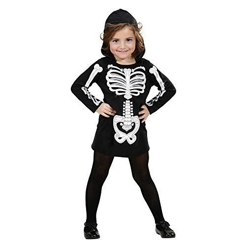 Widmann 2848K - Kinderkostüm Skelett Girl, Kleid mit Kapuze, Gröߟe 110 / - Glam Skelett Kostüm