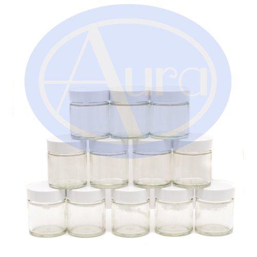 12er-PACKUNG - 30ml KLARGLAS-Behälter mit WEISSER Verschlusskappe für Aromatherapie-Mischungen / Cremes -