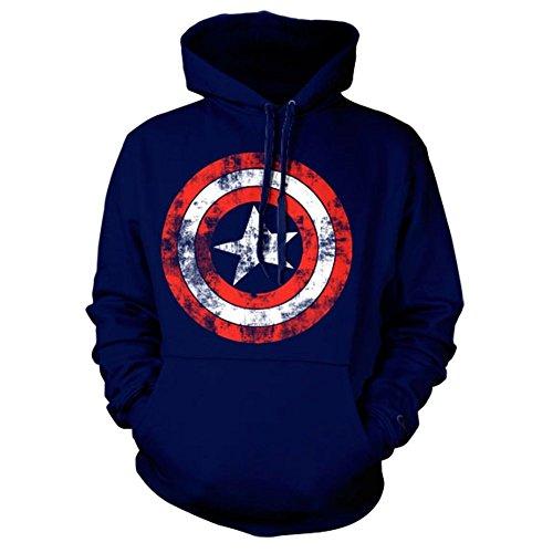 Ufficiale Vendicatori Capitan America Distressed Shield Logo Felpe con Cappuccio (Medio)