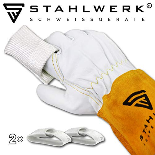 2 × STAHLWERK WIG Finger/TIG Finger Set zum Schweißen mit Schweißgeräte Plasmaschneider, für WIG MIG MAG MMA Plasma, hitzebeständiges Kevlargewebe, weiß