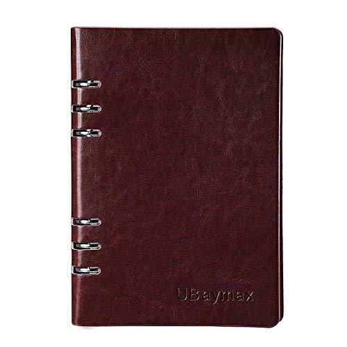 ubaymax cuaderno a5, cuadernos de tapa dura planificador de cuero diario con papel de hojas sueltas, organizador personal para hombres mujeres escuela de negocios