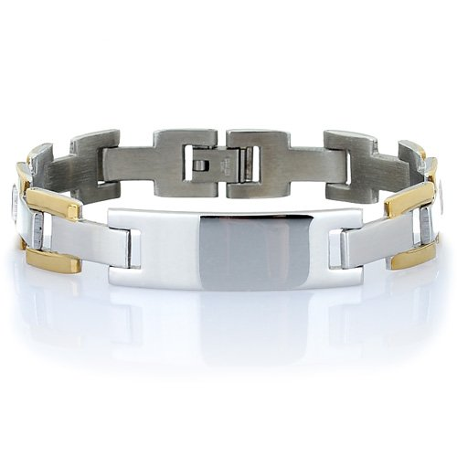 Great Gift Idea Men's Bracelet, Centre Name Plate, withGold and Silver Links in Brushed & Gloss Stainless Steel. Refined Masculine Jewellery.