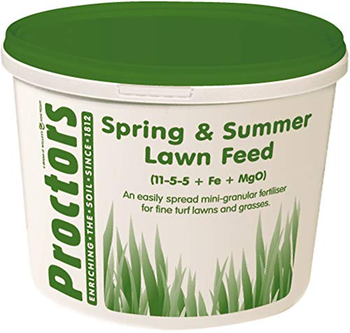 5kg airtight tub of Proctors Spring and Summer Lawn Grass Food and moss killer fertiliser