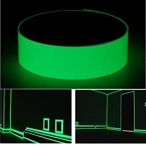 Inovey 12Mmx10M Photoluminescent Ruban Lueur À Darkness Egress Sécurité Mark Bright Vert