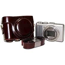 First2savvv XJPT-HX60-10 Funda Cámara cuero de la PU cámara digital bolsa caso cubierta con correa para Sony DSC HX60 HX50 HX30 marron oscuro