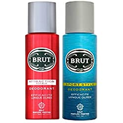 Brut Sport Style+Attraction Totale Efficacite Longue Duree Deodorant 200ml(pack of 2)