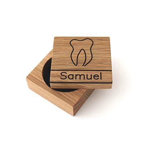 Zahndose für Milchzähne aus Holz mit Namen Milchzahndose mit Gravur Zahnbox aus Holz Zahnfee Box Holzdose Geschenk Einschulung zur Geburt Taufgeschenk personalisiert Baby Jungen Mädchen, Eiche - Eiche Nägel