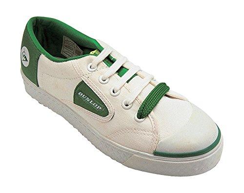 Dunlop Unisexe pour enfant 00614–02020Blanc Classique vulcanisé Vert Chaussures en Toile avec détails contrastés Blanc - blanc