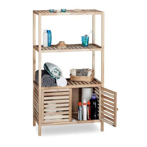 U-küche Regal (Relaxdays Badschrank Holz mit 4 Ablagen, breites Badregal, Walnuss Regal Bad u. Küche, HxBxT: 123 x 68 x 36 cm, natur)