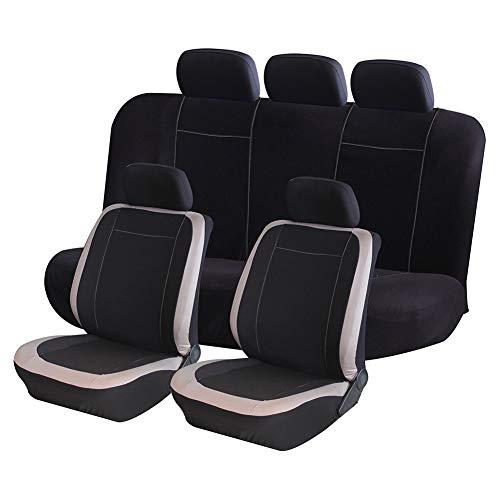 AUTO HIGH Coprisedili per Auto Set Completo - Panno in Mesh Traspirante Sedile Anteriore e Posteriore per Automobili Protegge Le coperture - per la Maggior Parte dei Camion per Auto SUV, Beige e Nero