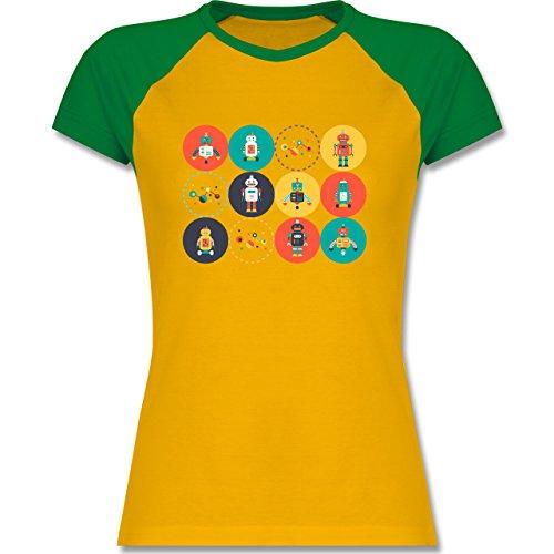 Nerds & Geeks - Roboter Design - zweifarbiges Baseballshirt / Raglan T-Shirt für Damen Gelb/Grün
