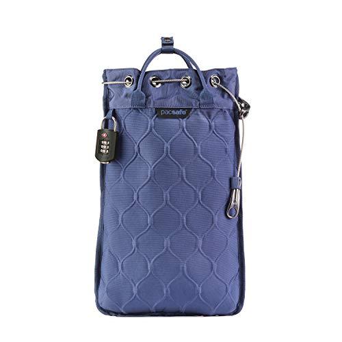 Pacsafe Travelsafe 5L - Mobiler Safe mit TSA-Zahlen Schloß, Trage-Tasche mit Anti-Diebstahl Technologie, 5 Liter Volumen, Blau/Storm -
