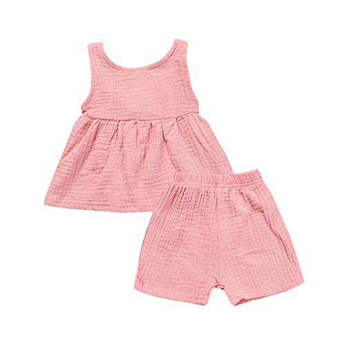 Mädchen Tee-set Lampe (JUTOO 2 Stücke Set Kinder Baby Mädchen Sleeveless Backless Solides Kleid Tops + Shorts Set Outfit (Rosa,70))