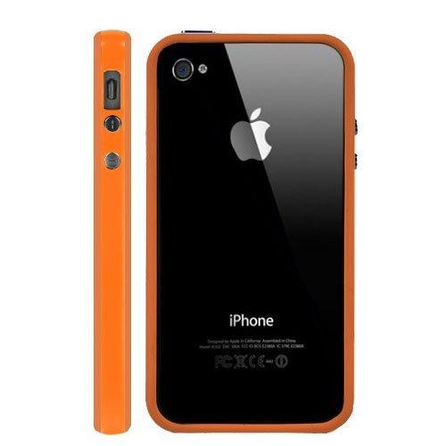 Qualität für iPhone 44G 4S Bumper Schutzhülle mit Metall Tasten orange schwarz bejubelt von G4GADGET ®