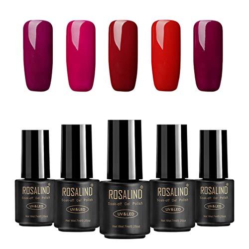 Juego 5 esmaltes uñas gel color rojo serie Soak Off