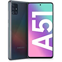 "Samsung Galaxy A51 Smartphone, Display 6.5"" Super AMOLED, 4 Fotocamere Posteriori, 128 GB Espandibili, RAM 4 GB, Batteria 4000 mAh, 4G, Dual Sim, Android 10, [Versione Italiana], Prism Crush Black"
