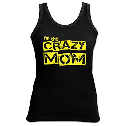 TankTop T-Shirt ::: Crazy Mom ::: Girl Schwarz Schwarz