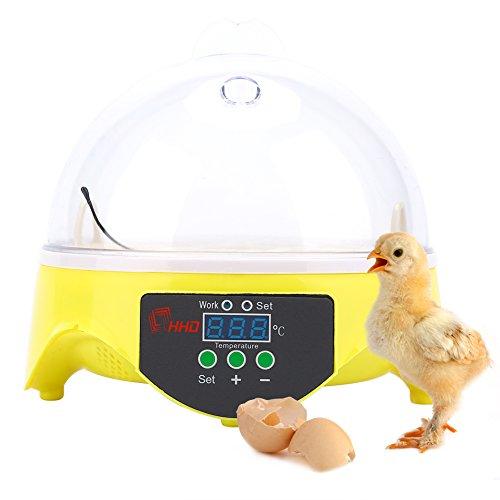 Wakects incubatrice automatica per 7 uova, incubatrici automatica di uova controllo automatico di temperatura, per gallina, anatra, quaglia, 20w
