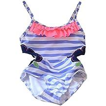 opsun–Bañador de 1pieza Swimsuit niño Niña Estampado, azul