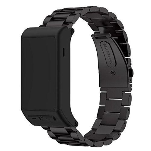 Armbanduhr Band 23mm, happytop Edelstahl Armband Handgelenk Gurt Uhren Ersatz für Garmin vivoactive HR S schwarz -