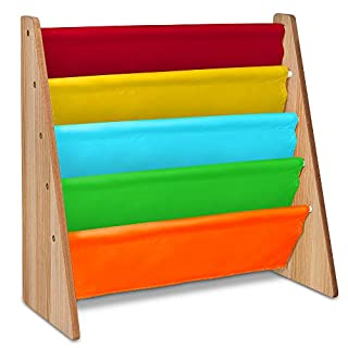 LIVIVO Children's Colourful Sling Storage Bookshelf – Easy Access Wooden Book Storage Rack with Soft Nylon Fabric Shelves Shelf to Protect your Kids Books (Multi-Colour)