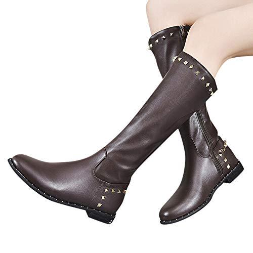 OSYARD Damen Overknee Stiefel Kniestiefel Langschaft Booties Lederstiefel Nieten Flandells, Frauen Slip-On Shoes Round-Toe Rivet Schuhe Reißverschluss Flache Lange Boots(220/35, Braun)
