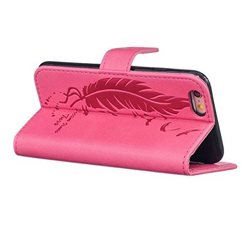 iPhone 6s Plus Hülle Brieftasche,iphone 6 Plus Hülle Case,Ekakashop Fashion Mädchen Krokodil Schwarz Design Bookstyle Magnet PU Lederhülle Tasche Wallet Case Handyzhülle Klapptasche Etui Flip Buchstil Feder-Blatt Rose Rot