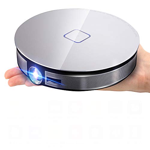 DLP Smart-Projektor 4K HD tragbarer Projektor Mini-Heimkino, 3800 Lumen 8-Kern-Prozessor 300-Zoll-Projektion 5Gwifi 15000 mA maximale Leistung,Silber