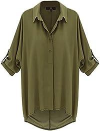 Mujer Camisas Chiffon Fashion Unicolor Anchas Casual Camisas Elegantes Mangas De Murciélago De Joven Bastante Solapa