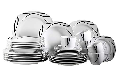 Mäser 920463 Serie Oslo, 30-teiliges Kombiservice für 6 Personen, Geschirr-Set, klassisch, zeitlos, elegant, Porzellan, schwarz-weiß Dinner-service-set