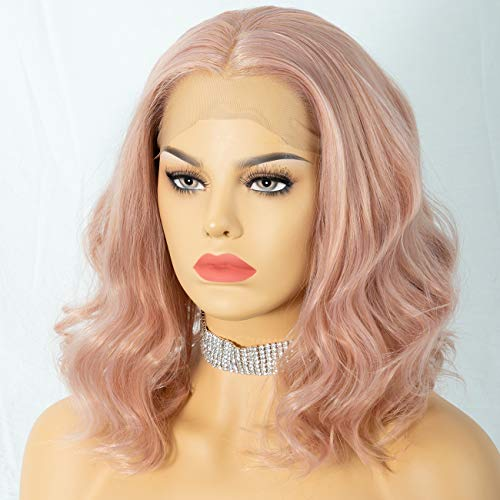 Cosswigs Pink Bob Wavy Lace Wig Middle Part Peach Pink Lace Front Wig for Women Realistic Looking Synthetic Wig Heat Resistant Fiber 14inches Peach Pink Lace