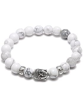 ELEGANCE PARISIENNE Modisches Armband Weiß Perlen Stein Buddha Elastisch Unisex Für Frauen Damen Mädchen