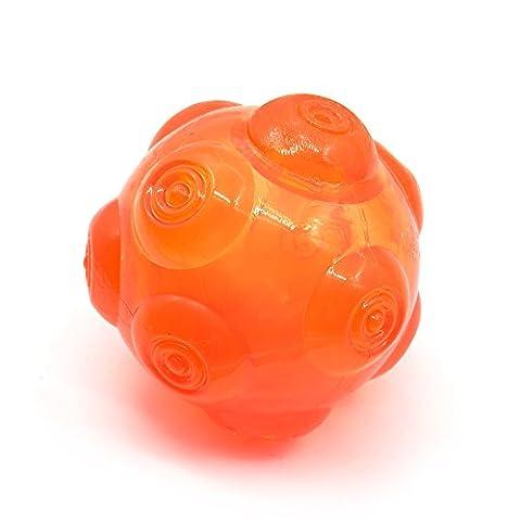 Squeezz Ball ,Jouets pour chiens Ball, Interactive Squeak Jouets pour chiens Ball for Small Medium Pet - Flexible Caoutchouc naturel, Flottant Throw Jouet pour la formation Playing Fetch Interactive IQ Toys by CYMALL (Dog Balles Jouets d'Orange)