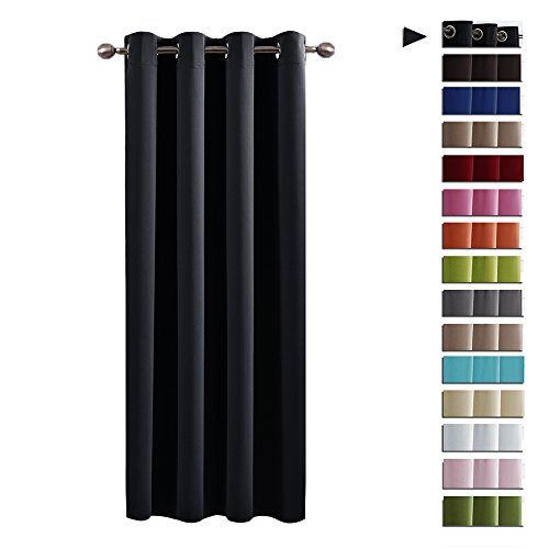 Eyelet Blackout Curtain Nursery Décor - PONY DANCE Window Treatments & Nursery Décor Top Eyelet Interwoven Lined Innovative Blackout Curtain Panel for Living Room, 1 Pc, Wide 52