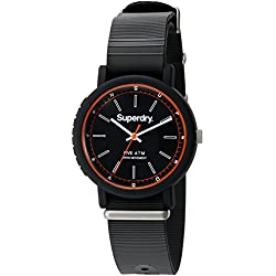 Superdry Men's 'Campus Nato' Quartz Plastic and Silicone Dress Watch, Color:Black (Model: SYG197B)