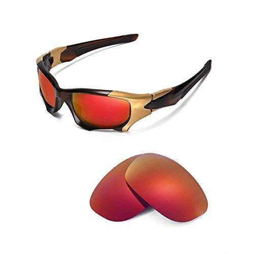 Walleva Ersatzgläser für Oakley PIT BOSS II Sonnenbrille - Mehrere Optionen (Feuerrot Mirror Coated - Polarisiert)