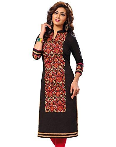 Jevi Prints Women's Cotton Dress Material (Saheli-1532_Free Size_Black)