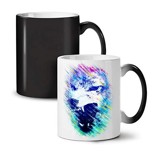 Wellcoda Wolf Gesicht Wütend Tier Farbwechselbecher, Achtung Tasse - Großer, Easy-Grip-Griff, Wärmeaktiviert, Ideal für Kaffee- und Teetrinker (Wolf Kostüme Geschirr)