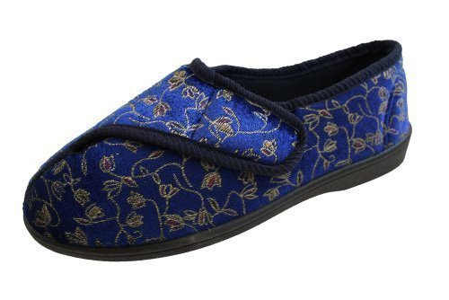 ladies-navy-touch-fastening-machine-washable-wide-slippers-uk-size-6