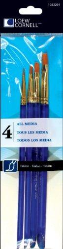 Loew Cornell 4-Piece All Media Brush Set, Taklon, Shader 2, 4, 6, 8 by Loew-Cornell