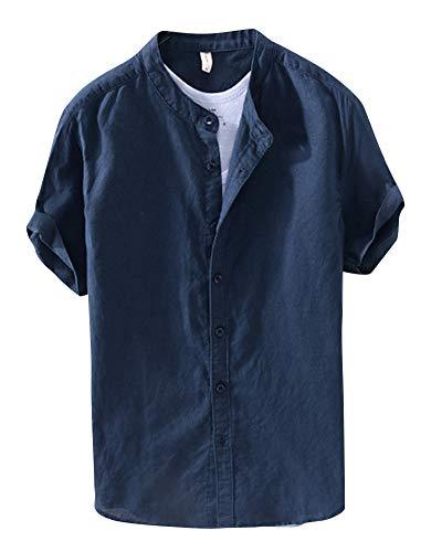 Camicia in lino maniche corte uomo slim fit collo coreano blu zaffiro 2xl