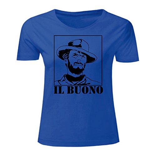 Art T-shirt, Maglietta Clint Eastwood Il Buono, Donna Blu