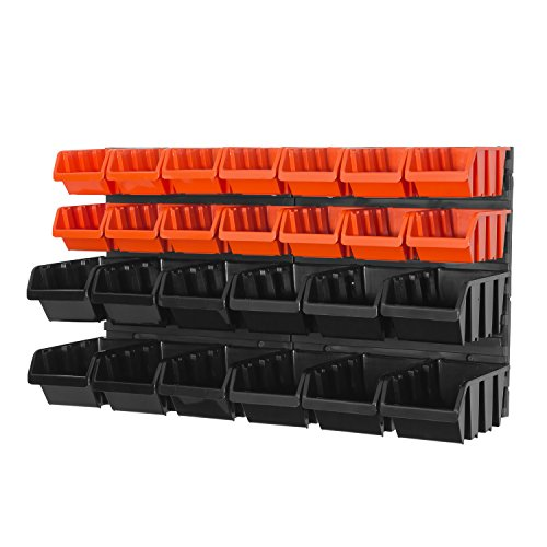 28 teilg. Wandregal Lagerregal Regale inkl. Stapelboxen orange schwarz Werkstatt