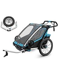 Thule Chariot Sport 2 SET, Blau, Fahrradanhänger, inkl. Joggigset Buggy / für 2 Kinder