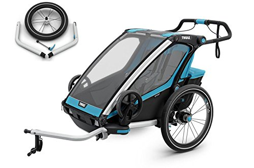 Thule____ Chariot Sport 2 SET, Blau, Fahrradanhänger, inkl. Joggigset Buggy/für 2 Kinder