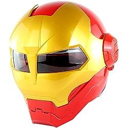 D.O.T Certificado Moto Casco De Motocross Cara Completa Casco Moto Tapa Abierta Casco Máscara, Iron Man Transformers - M, L, XL Rojo,M57~58CM
