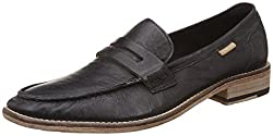 U.S. Polo Assn. Mens Black Leather Loafers and Moccasins - 8 UK/India (42 EU)