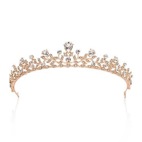 SWEETV Retro Stil Kristalle Prinzessin Krone Strass Braut Tiara Festzug Prom Hochzeit Diadem, Roségold