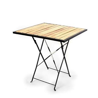 Biergarten-Tisch Gartentisch, Holz+Metall, quadratisch, 70x70cm ~ hell